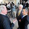 John P. Cleary |  The Herald Bulletin<br /> Jim Schellinger, Indiana Secretary of Commerce, Anderson Mayor Thomas Broderick, Jr., and Tadao Okamura, President of NTK Precision Axel Corp.,  talk after announcing Friday that NTK will invest $92 million dollars in building a new manufacturing facility in Anderson.