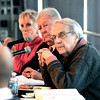 John P. Cleary |  The Herald Bulletin<br /> Indiana Horse Racing Commission members Susie Lightle, Greg Schenkel, and Bill McCarty listen to oral arguments during the commission meeting held at Hoosier Park Racing & Casino Tuesday.