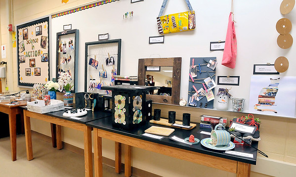 John P. Cleary |  The Herald Bulletin<br /> Recycle & Reuse projects from Cyndee McFarran's 8th-grade Alexandria-Monroe Jr. High School science class.
