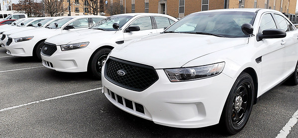 John P. Cleary |  The Herald Bulletin<br /> New Anderson Police vehicles are lined up at headquarters waiting to be outfitted as the city council reviews the departments take-home policy Thursday evening.