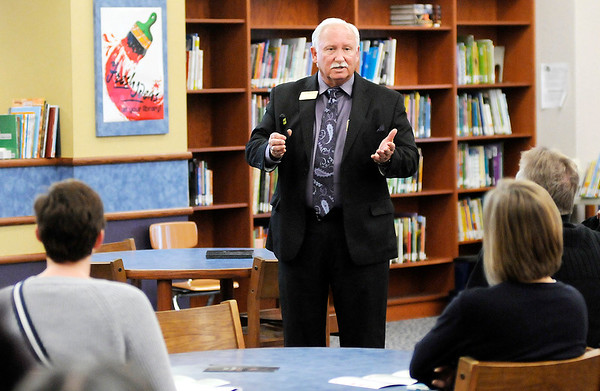 Don Knight | The Herald Bulletin<br /> ACS Superintendent Terry Thompson explains the FIRST program to the public at Anderson Elementary School on Wednesday. The meeting was the second of three meetings to familiarize the community with the program.