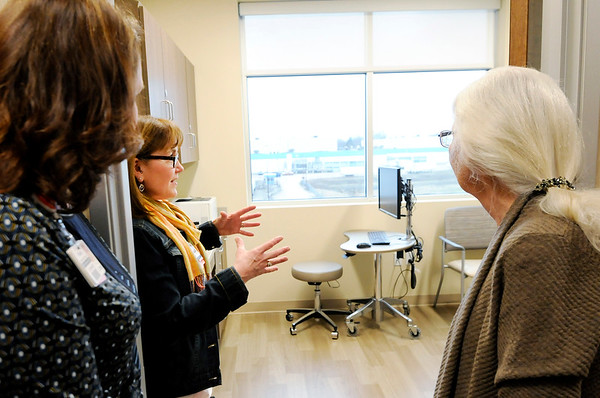 Don Knight | The Herald Bulletin<br /> Sharon Campbell, second from left, gives tours of Family Medicine Care at the new Community Health Pavilion on Wednesday.
