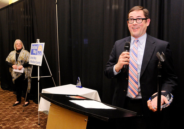 Don Knight | The Herald Bulletin<br /> Judge David Happe accepts the Volunteer of the Year award during<br /> United Way of Madison County's awards celebration and annual meeting at Hoosier Park on Wednesday.