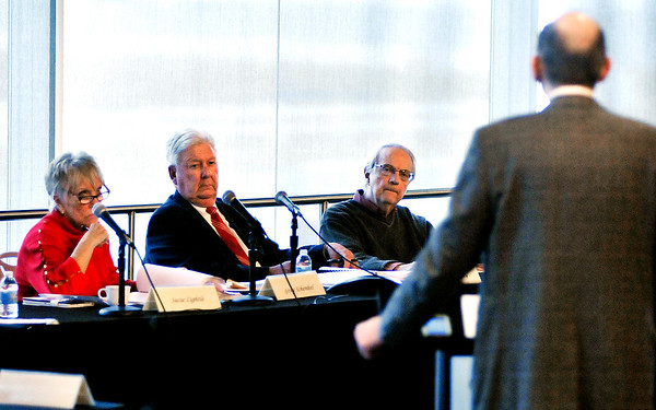 John P. Cleary |  The Herald Bulletin<br /> Attorney Pete Sacopulos, far right, speaks to Indiana Horse Racing Commission members Susie Lightle, Greg Schenkel, and Bill McCarty on behalf of his client Bobby Brower during the commission meeting held Tuesday at Hoosier Park Racing & Casino. The commission issued a default judgment against Brower stemming from an incident in August 2016 in which Brower is accused of beating a horse.