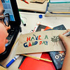 "John P. Cleary |  The Herald Bulletin<br /> Mario Padilla, 12, decorates his ""random acts of kindness"" bag in Mary Ann Wildman's sixth-grade High Ability Language Arts class."