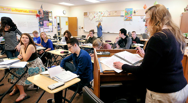 John P. Cleary |  The Herald Bulletin<br /> Denise Hersberger-Gray teaches her calculus class Tuesday at  Lapel High School. These calculus students would be able to take advantage of advanced online courses under HB 1007.