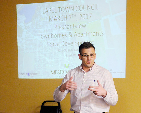 Don Knight | The Herald Bulletin<br /> Developer Adam D'Angleo talks about changes to the Pleasantview project during a meeting of the Lapel Town Council on Tuesday. The council approved a zoning change for the Pleasantview project.