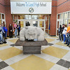 John P. Cleary | The Herald Bulletin<br /> Lapel High School students gathered in the school vestibule Wednesday to participate in the national walkout protesting government inaction on gun control. Students observed 17 minutes of silence for the 17 victims of the Parkland, Fla. school shooting one month ago.
