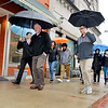 John P. Cleary | The Herald Bulletin<br /> Madison County Chamber & Anderson YMCA hosted the first Downtown Walk Around Thursday at noon. Here the group heads south along Meridian Street for their one mile walk through downtown.
