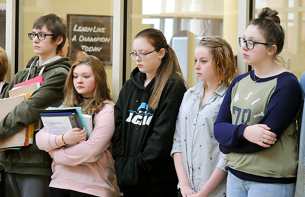 John P. Cleary | The Herald Bulletin<br /> Lapel High School students participating in the national walkout protesting government inaction on gun control Wednesday morning, observed 17 minutes of silence for the 17 victims of the Parkland, Fla. school shooting one month ago.