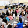 Don Knight | The Herald Bulletin<br /> Students at Eastside Elementary ask IndyCar driver Jack Harvey math related questions on Friday.