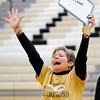 Don Knight | The Herald Bulletin<br /> Angie Howell reacts to correctly guessing her husband Jimmie's favorite candy bar during a pep rally for the Lapel Bulldogs on Friday ahead of the regional on Saturday.
