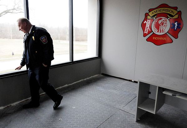 Don Knight | The Herald Bulletin<br /> Anderson Fire Chief Dave Cravens talks about the interior renovations at Anderson's Firestation 1 that are on schedule to be completed in April.