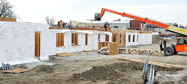 John P. Cleary | The Herald Bulletin<br /> Construction continues on the Fieldhouse Apartments just west of the Wigwam.