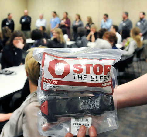 John P. Cleary   The Herald Bulletin<br /> Stop the Bleed, Save a Life class for Community Hospital Anderson staff. This is a Stop The Bleed kit that is being distributed throughout the hospital.