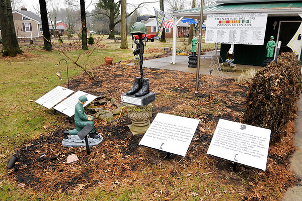 Don Knight | The Herald Bulletin<br /> Michael Knight started last summer to turn his back yard into a Vietnam War memorial.