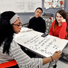 John P. Cleary | The Herald Bulletin<br /> Anderson High School junior Jai Jackson writes down the equation she and classmates, seniors Siraj Elbey and Marissa Merritt, are working on in Richard Ziuchkovki's calculus class on one of the new whiteboard tables in the classroom.