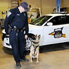Don Knight   The Herald Bulletin<br /> Thomas Ratliff with his K9 partner Tora at the State Police Post in Pendleton on Tuesdasy. Tora will receive a bullet and stab proof vest thanks to a charitable donation.