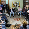 Don Knight | The Herald Bulletin<br /> Founders of Grace House, Molly Douglas and Karl Lazar, talk to a room of volunteers about the new home for women recovering from addiction on Wednesday.