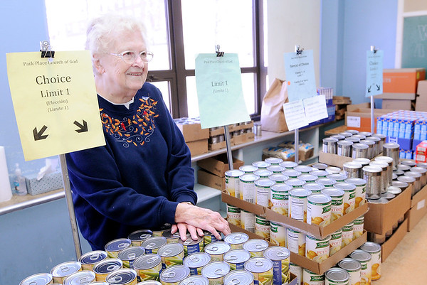 Don Knight | The Herald Bulletin Beverly Pierce has been volunteering with the Park Place Church of God pantry for 30 years.