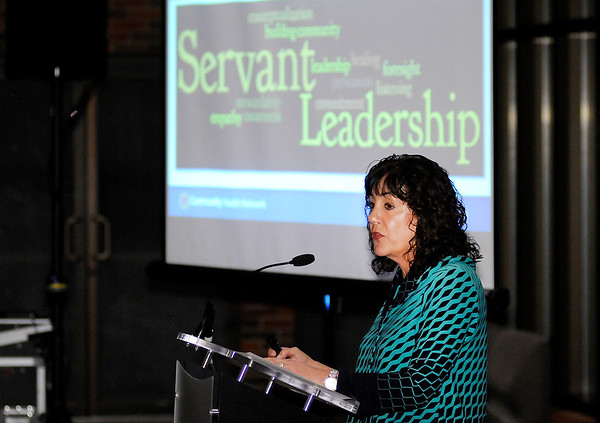 Don Knight | The Herald Bulletin<br /> Beth Tharp, CEO of Community Hospital Anderson, talks about servant leadership during an International Women's Day dinner at Reardon Auditorium on Thursday.