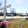John P. Cleary | The Herald Bulletin<br /> Memorial crosses along Ind. 67 and Pendleton Ave. mark a stretch of roadway that has seen several fatalities.