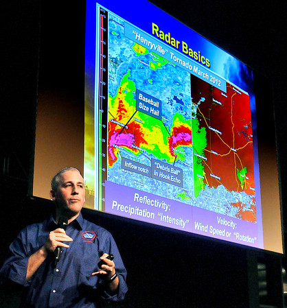 John P. Cleary | The Herald Bulletin<br /> Mike Ryan, senior forecaster for the National Weather Service Indianapolis, gives the StormNet spotter severe weather training presentation this past Tuesday evening at Hoosier Park Racing and Casino. Hosted by Madison County Emergency Management & Homeland Security Agency, the storm spotter training was for all amateur radio storm spotters, police, fire, ems, ema and the general public.<br /> <br /> StormNet spotter severe weather training by the National Weather Service hosted by Madison County Emergency Management,