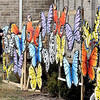 John P. Cleary | The Herald Bulletin<br /> Bethel United Methodist Church Pastor Kristine Marshall with the 40 painted butterflies that are on display in front of the church at 38th and Layton Road.
