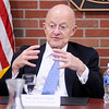 Don Knight | The Herald Bulletin<br /> Former U.S. Director of Intelligence James Clapper answers questions from Anderson University students in the Situation Room at Decker Hall on Wednesday.