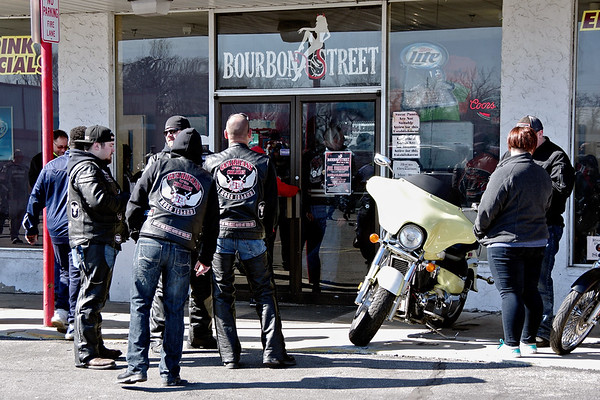"""Riders gathered at Buoubon Street on Sunday morning for the """"Justice for Harlan"""" fund-raising ride organized by the Moss Island Chapter of the Guardians of the Children motorcycle club."""