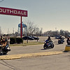 "Participants in Sunday's ""Justice for Harlan"" motorcycle ride pull onto 53rd Street from Southdale Plaza."