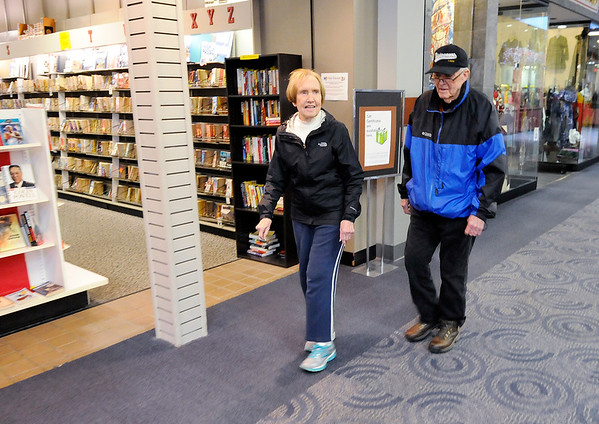 Don Knight   The Herald Bulletin<br /> Louann Campbell and Bob Taylor walk for exercise at the Mounds Mall on Thursday. The mall will be closing April 1st but the Mounds 10 Theatre and Dr. Tavel will remain open.