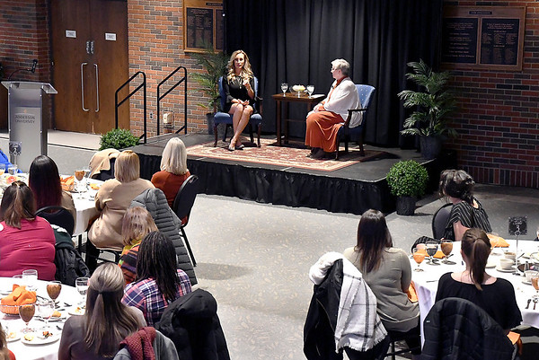 John P. Cleary   The Herald Bulletin<br /> The annual International Women's Day dinner was held at Anderson University in Reardon Auditorium Monday evening with former Indianapolis Colts cheerleader Jill Eicher as guest speaker.