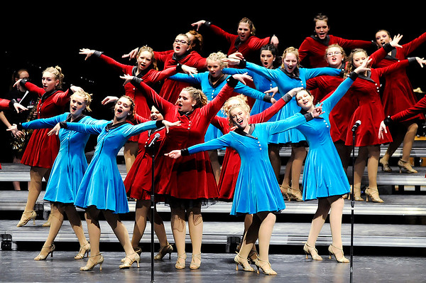 Don Knight | The Herald Bulletin<br /> Pendleton Heights' Emerald Suites perform their show in the Loran G. Skinner Auditorium on Thursday. Emerald Suites performs a mixture of disco and Broadway music in their show.