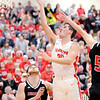 Don Knight | The Herald Bulletin<br /> Frankton's Kayden Key drives to the basket as the Eagles faced Sheridan in the sectional semi-final at Elwood on Friday.