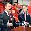 John P. Cleary | The Herald Bulletin<br /> U.S. Senator Todd Young, R-IN, holds a press conference Friday with representatives of the Indiana trucking industry regarding his bill, the DRIVE-Safe Act, at Carter Express in Anderson.