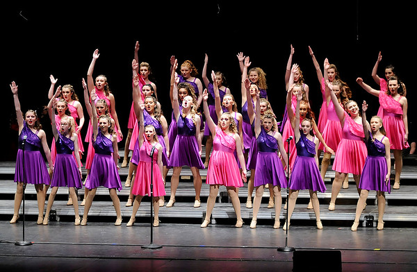Don Knight | The Herald Bulletin<br /> Pendleton Heights' New Edition performs their show in the Loran G. Skinner Auditorium on Thursday ahead of state competition this weekend. The 2-year-old New Edition is the first junior varsity show choir to make it to state finals.