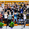 Don Knight | The Herald Bulletin<br /> Students learn choreography from Kenny Shepard for the 75th Annual Madison County Choral Festival on Tuesday. Students from Alexandria, Elwood, Frankton, Lapel, Madison-Grant and Pendleton took part in the event.