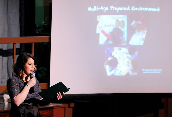 Don Knight | The Herald Bulletin<br /> Kayla Cange delivers her pitch for Anderson Montessori PeaceMakers during Pitch Night at Mainstage Theatre on Friday.