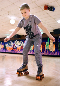 John P. Cleary | The Herald Bulletin Boston Sharp, 11, works on his backward skating while at Anderson Roll Arena for their Spring Break Skate.