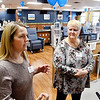 John P. Cleary | The Herald Bulletin<br /> Jamie Shea, U.S. Renal Care Anderson Dialysis Clinic administrator, explains to visitors about their new facility as Ann Wilcoxon, RN, listens during an open house Thursday afternoon for the dialysis clinic at 2220 East 59th Street.
