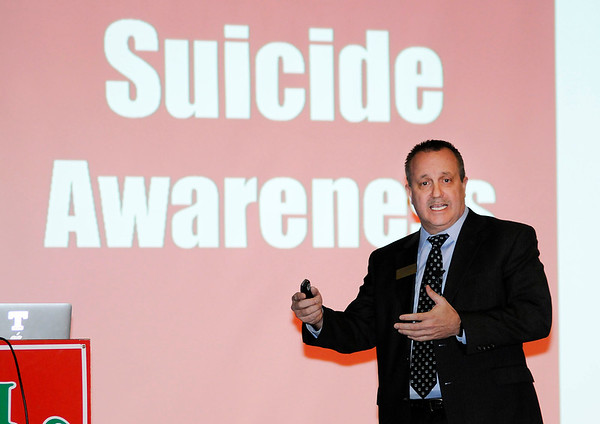 Don Knight | The Herald Bulletin<br /> ACS Superintendent Dr. Tim Smith talks about suicide awareness during a community meeting at Anderson High School on Wednesday for a wide ranging conversation on school safety and bullying.