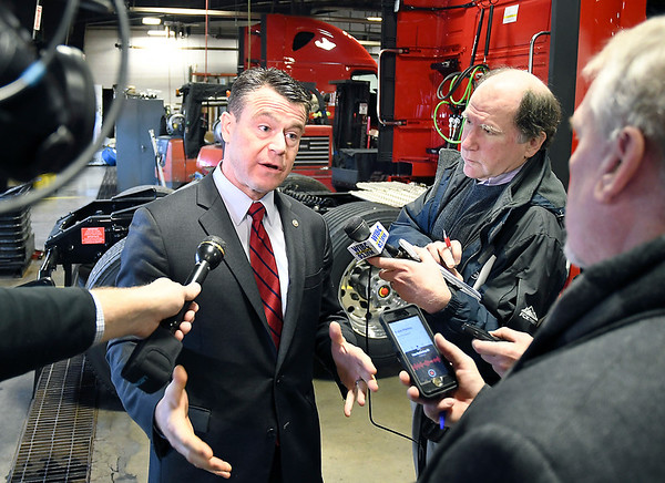 John P. Cleary   The Herald Bulletin<br /> U.S. Senator Todd Young, R-IN, talks with members of the media during a stop in Anderson Friday about America's southern border and the President's emergency declaration.