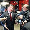 John P. Cleary | The Herald Bulletin<br /> U.S. Senator Todd Young, R-IN, talks with members of the media during a stop in Anderson Friday about America's southern border and the President's emergency declaration.