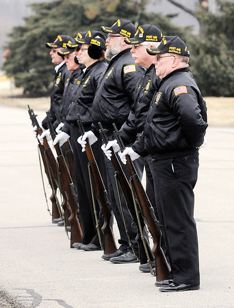 Don Knight | The Herald Bulletin<br /> Daleville American Legion Post 446 provides the 21 gun salute for WWII veteran 1st Lt. Shirley W. Warfield during her funeral service at Anderson Memorial Park Cemetery on Thursday.