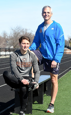 John P. Cleary | The Herald Bulletin  <br /> AU student Aaron Ward and Judge Mark Dudley are preparing to run the upcoming Boston Marathon.