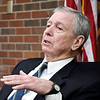 John P. Cleary | The Herald Bulletin <br /> Former U.S. Attorney General John Ashcroft speaks to Anderson University national security political science students in the Situation Room Thursday morning during his visit to campus.