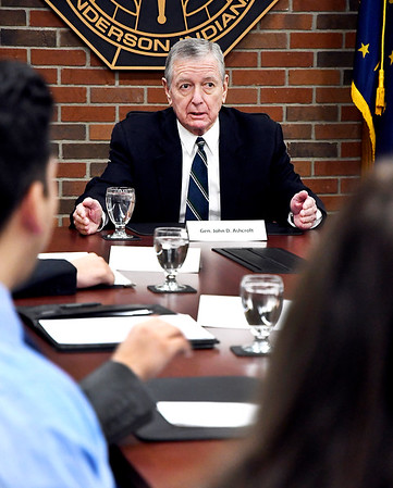 John P. Cleary   The Herald Bulletin <br /> Former U.S. Attorney General John Ashcroft speaks to Anderson University national security political science students in the Situation Room Thursday morning during his visit to campus.