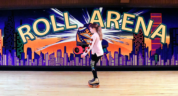 John P. Cleary | The Herald Bulletin Aaliyah Fairchild, 9, rolls around Anderson Roll Arena Tuesday as she takes advantage of the Spring Break Skate.