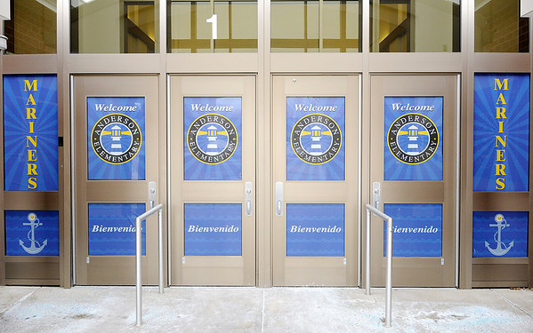 Don Knight   The Herald Bulletin<br /> Anderson Elementary has reworked their entrance so visitors have to enter through the office.